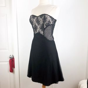 WHBM Lace Corset LBD Cocktail Party Black Dress 0